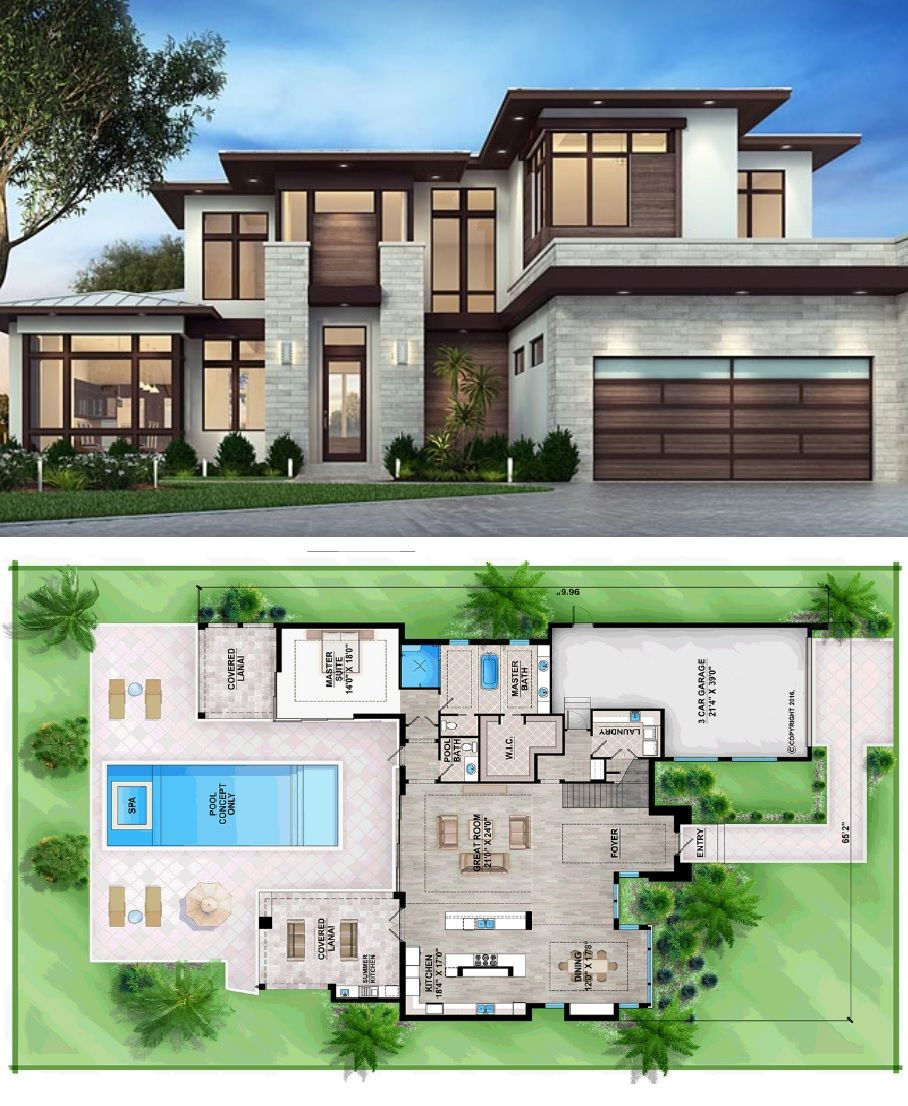 Modern House Plan Contemporary Style 3 Bedroom 3 Bathroom Home Design Houseplan House Plans Contemporary House Plans Family House Plans
