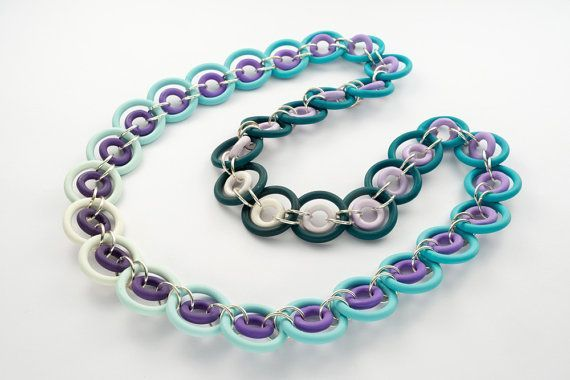 Statement Womens Necklace Turquoise Chainmaille by NiliSherill