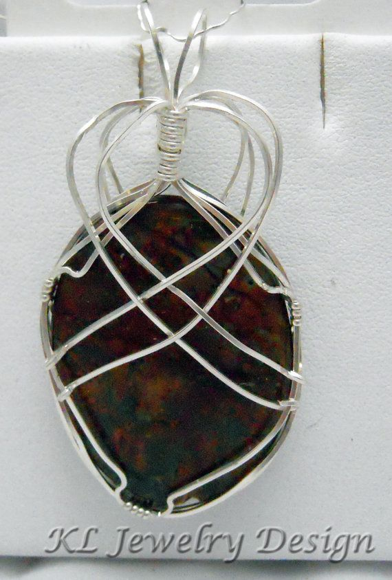 Red Green Jasper in Silver Pendant by KLJewelryDesign on Etsy, $23.50
