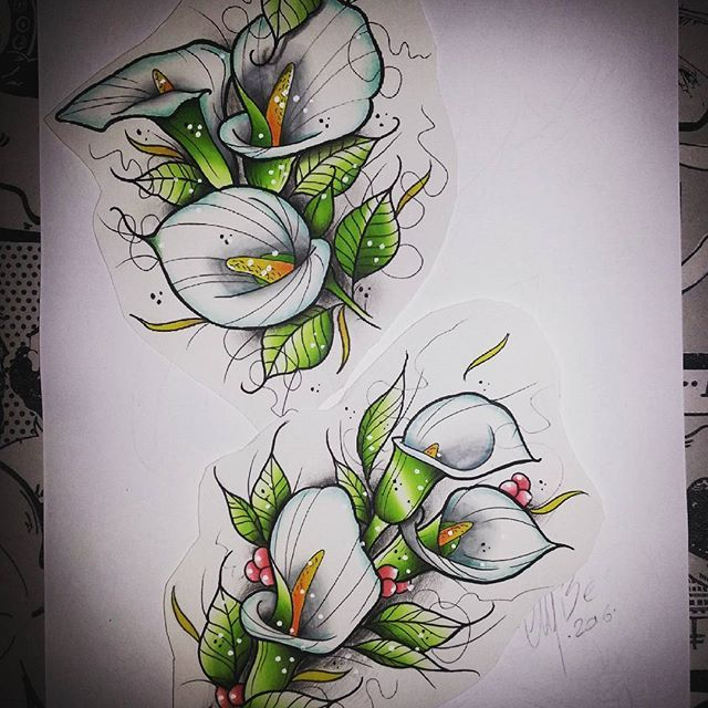 Chameleon Arts Tattoo Flash: Amazing Little Neo Traditional Calla Lilies Tattoo Design