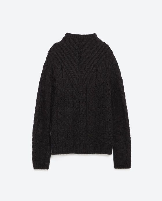 Image 8 Of Cable Knit Sweater From Zara Cable Knit Sweater Womens Black Cable Knit Sweater Cable Knit Sweaters