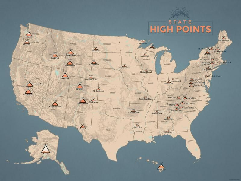 State High Points Map 18x24 Poster in 2019   my great adventures ...