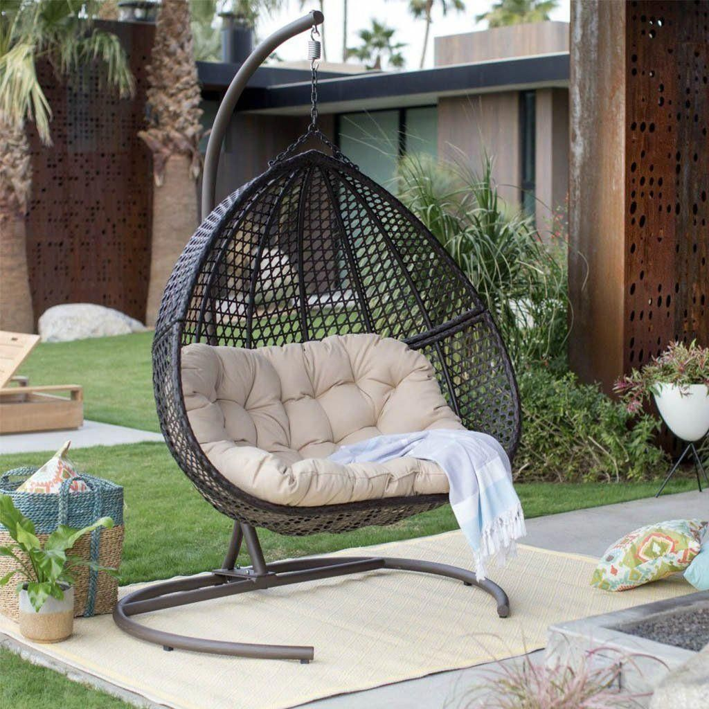 Hanging egg chair loveseat for luxury outdoor patios eggchair outdoorpatioideasdecorating