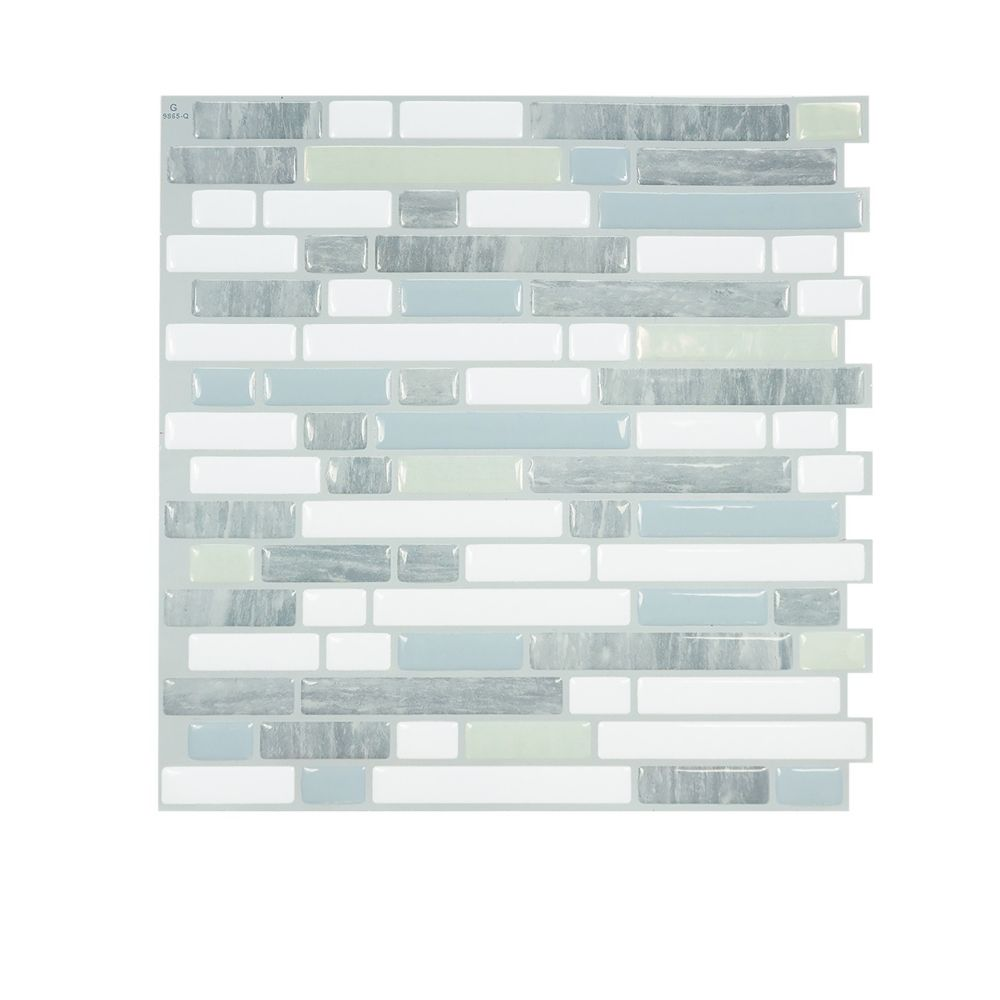 Bellagio Costa 10 06 Inch W X 10 Inch H Peel And Stick Decorative Wall Tile 4 Pack Smart Tiles Vinyl Wall Tiles Herringbone Backsplash