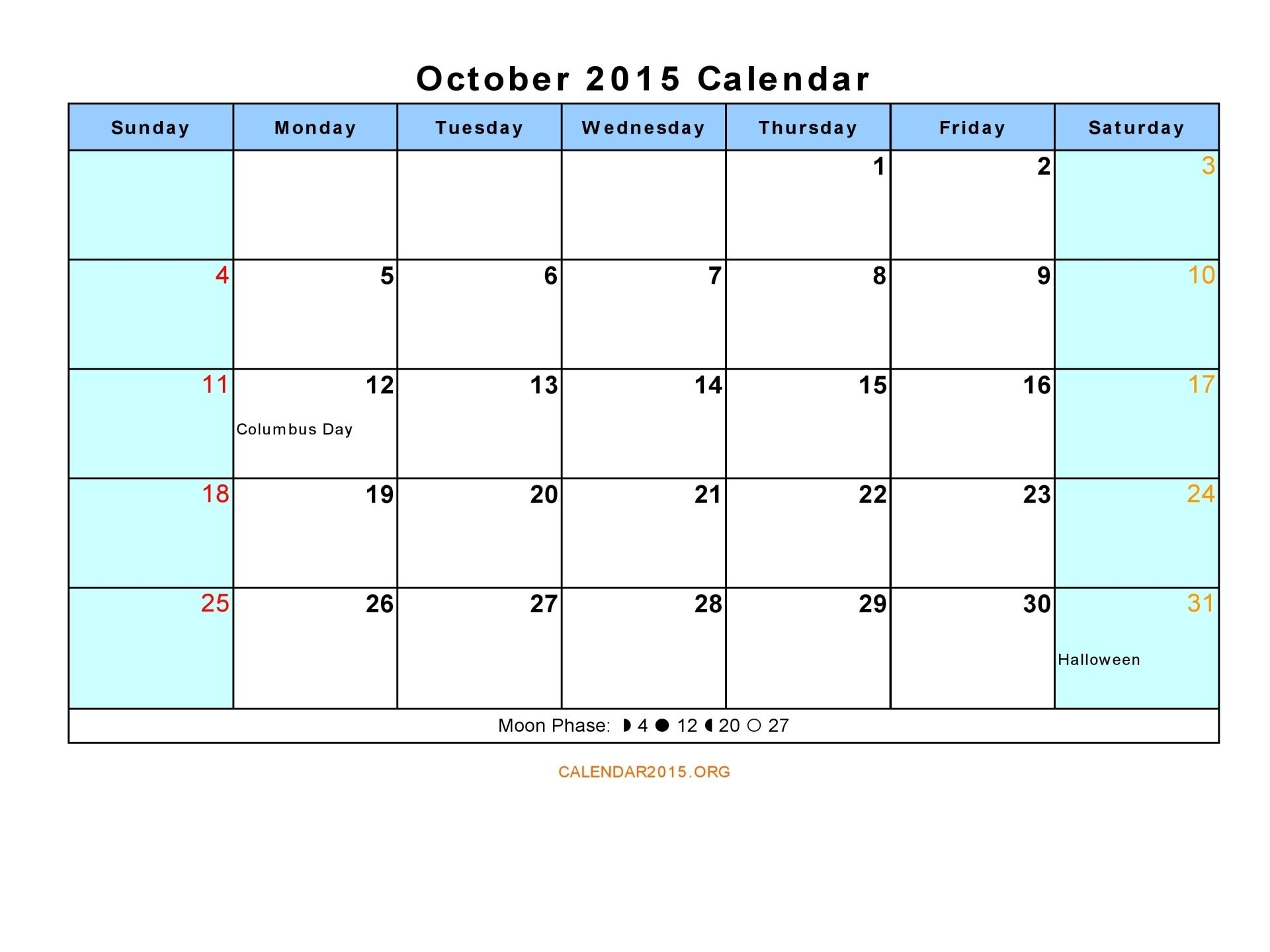 October Calendar Holiday Event,To Print, Tumblr, Calendar