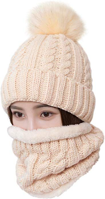 f0ce1a9cf55 LCZTN Womens Pom Beanie Hat Scarf Set Girls Cute Winter Ski Hat Slouchy  Knit Skull Cap with Fleece Lined at Amazon Women s Clothing store
