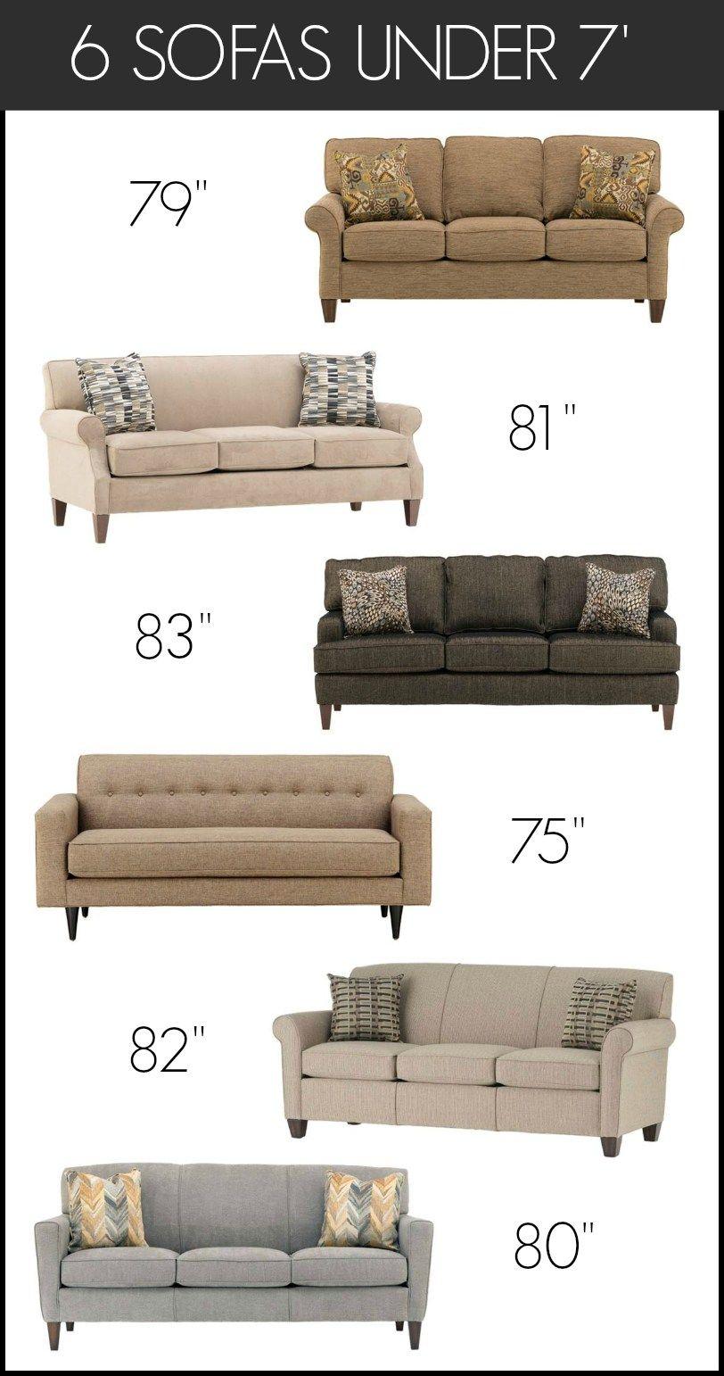 furnishing small spaces 6 sofas under 7 feet living rooms ideas rh pinterest com