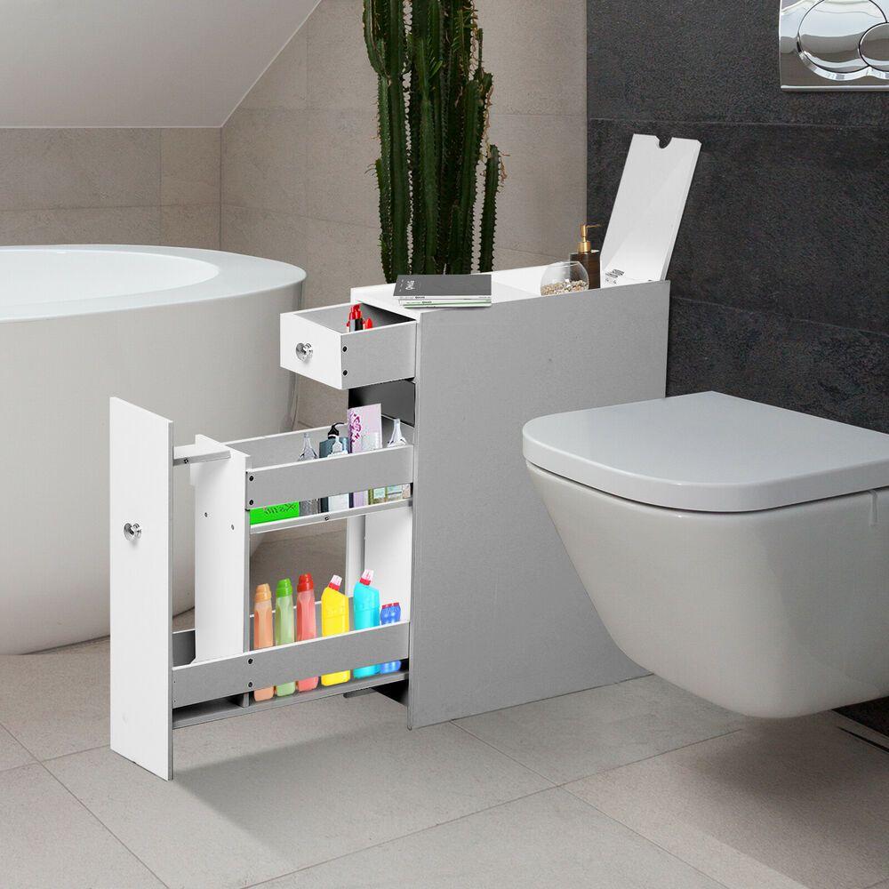 Details About Wooden Narrow Modern Bathroom Furniture Storage
