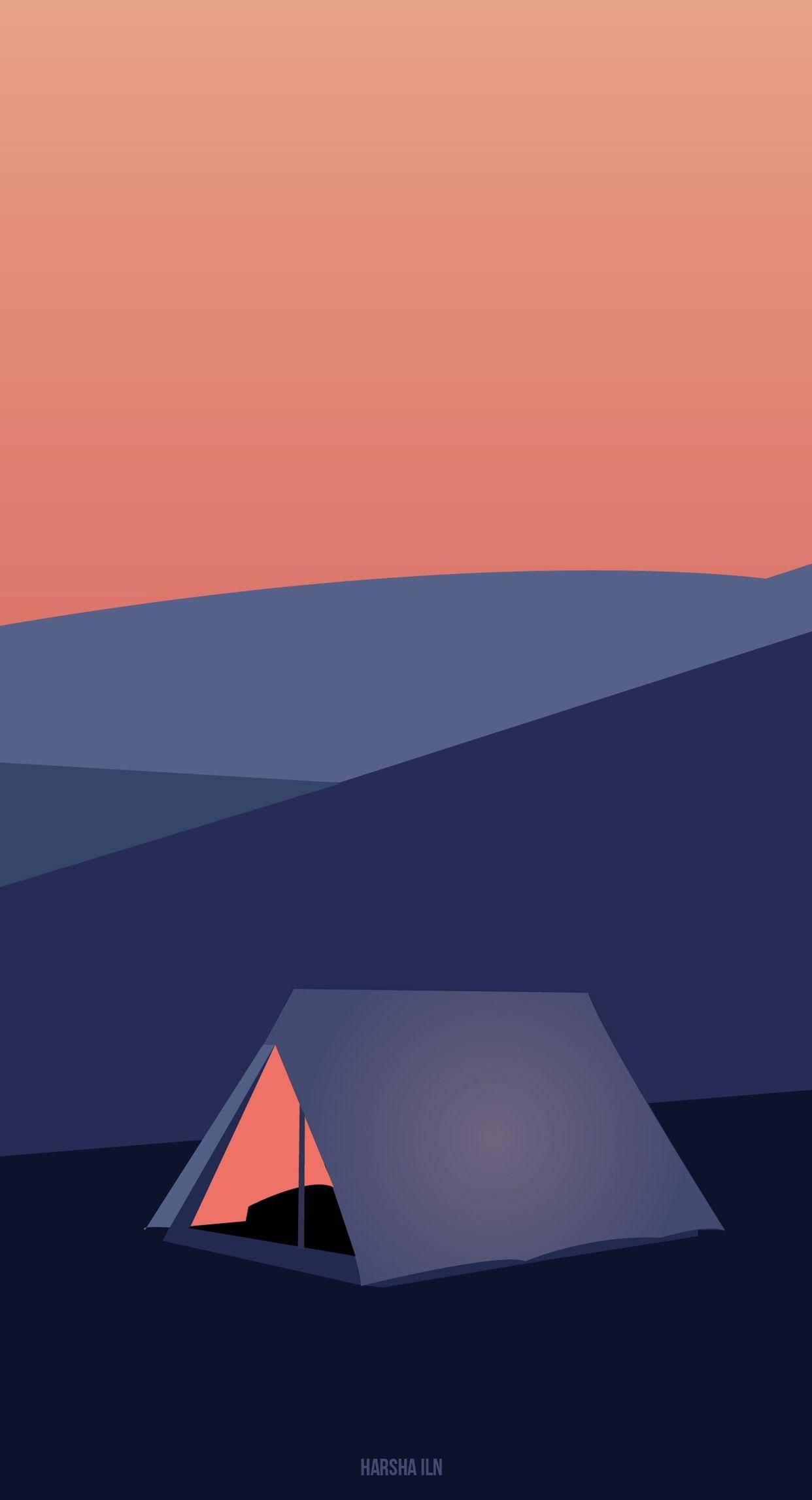 Camping art gambar desain