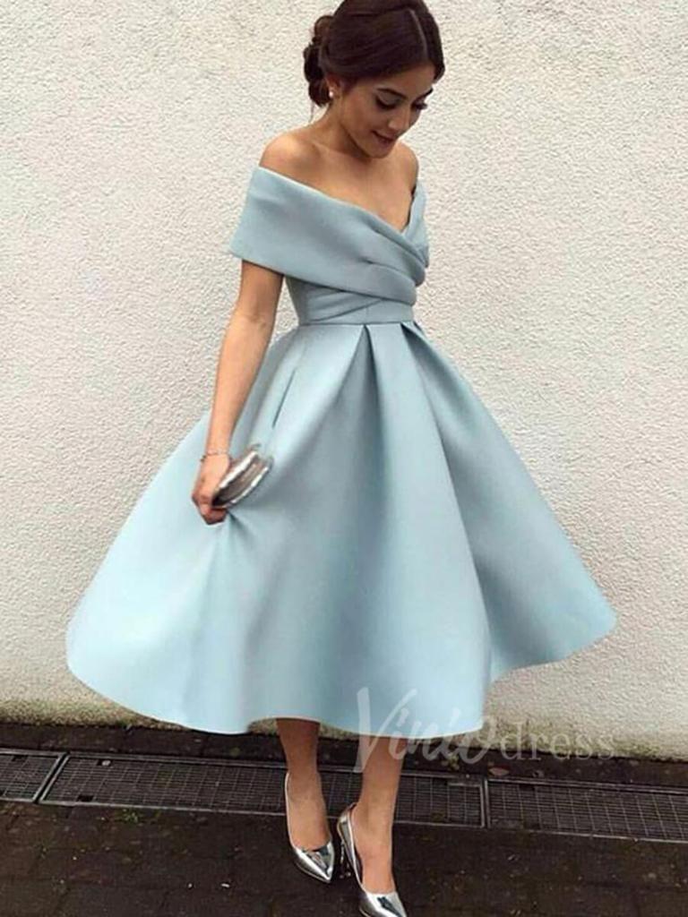 A Line Tea Length Prom Dresses Light Blue Wedding Guest Dress Sd1205 Knee Length Prom Dress Vintage Homecoming Dresses Cheap Homecoming Dresses [ 1024 x 768 Pixel ]