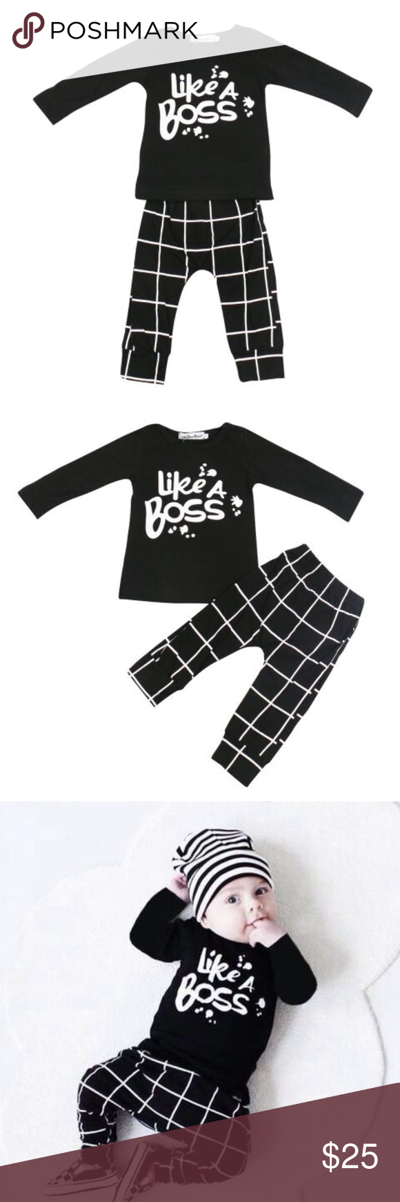 Unisex Like A Boss printed baby outfit 3-6 months Super trendy long sleeve unisex baby outfit for 3-6 months.  Comes with Top and Bottom. Hat not included Matching Sets