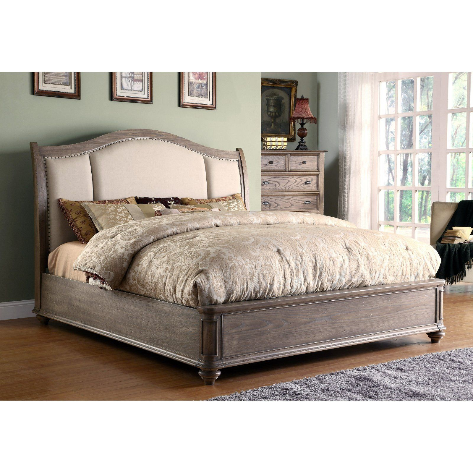 Coventry Sleigh Bed Weathered Driftwood