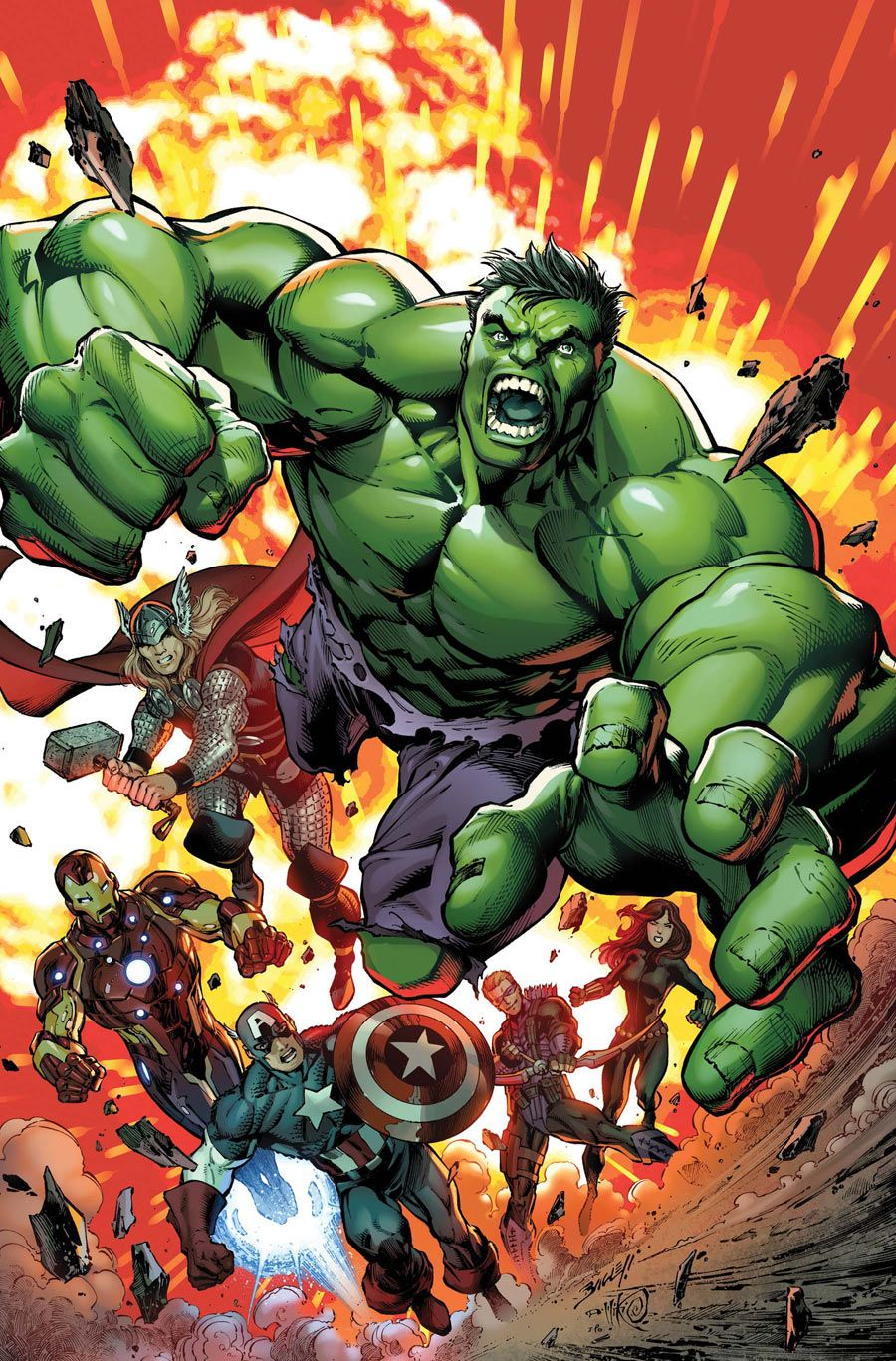 #Hulk #Fan #Art. (Avengers Assemble Vol.2 #2 Cover) By: Mark Bagley. (THE * 5 * STÅR * ÅWARD * OF: * AW YEAH, IT'S MAJOR ÅWESOMENESS!!!™) ÅÅÅ+