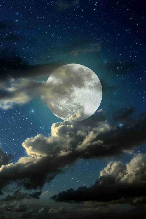 The stars kiss purposely with the moon in the clouds. Never ending love. More