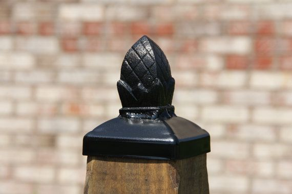 Pineapple 4x4 Post Cap Wrought Iron Squared Pineapple Post Etsy Post Cap Wood Fence Post Wood Post