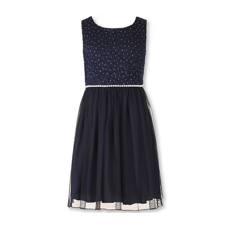86ab58a5ddbe Speechless Sleeveless Navy Sparkle Lace-to-Mesh Ballerina Dress - Girls 7-16  and Plus