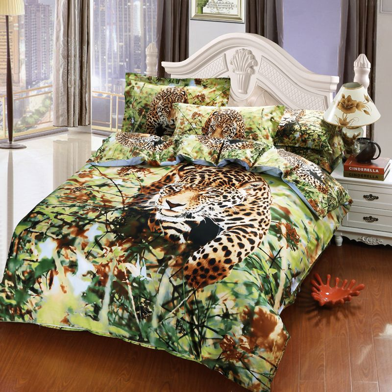 Jungle 3d Cheetah Mens Bedding Set Queen Size Good Quility