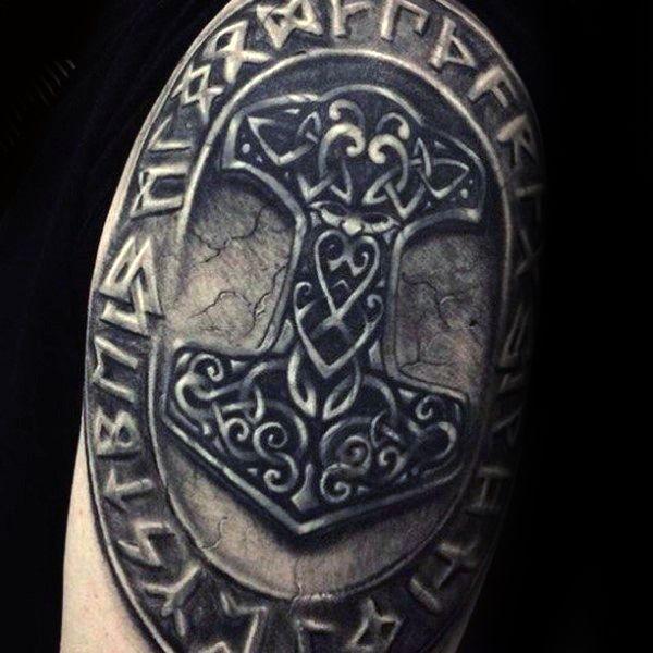 Guys norse stone mjolnir arm tattoo designs vikings for Custom tattoo armrest for sale