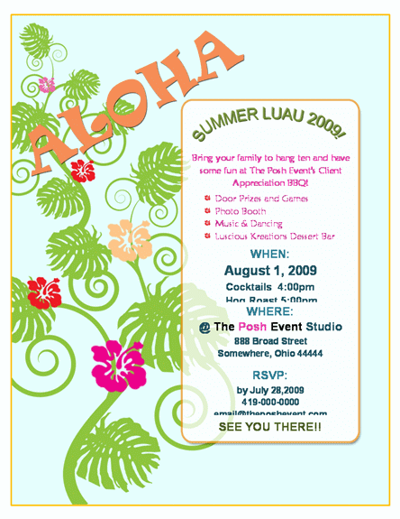 free printable luau flyer templates stuff to buy pinterest