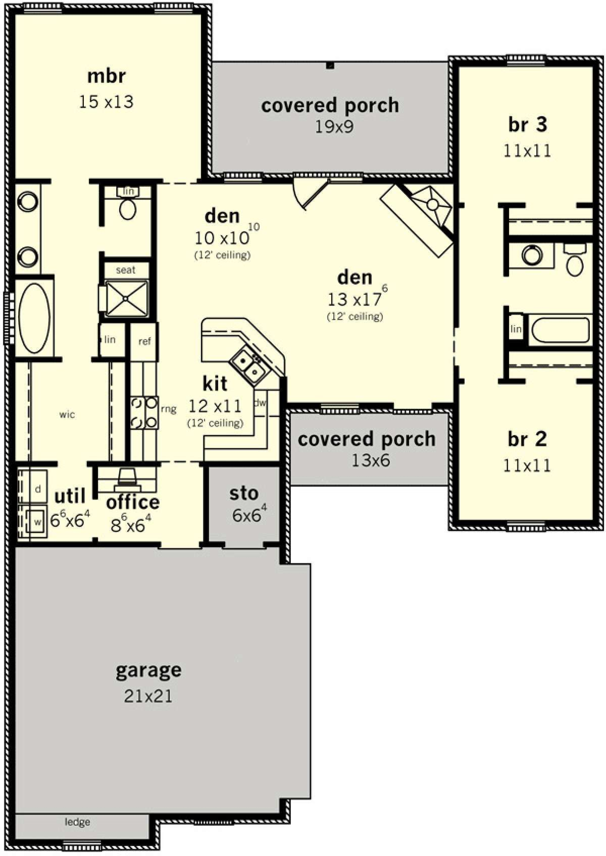 House Plan 9035 00242 Ranch Plan 1 442 Square Feet 3 Bedrooms 2 Bathrooms Small House Plans House Plans Floor Plans