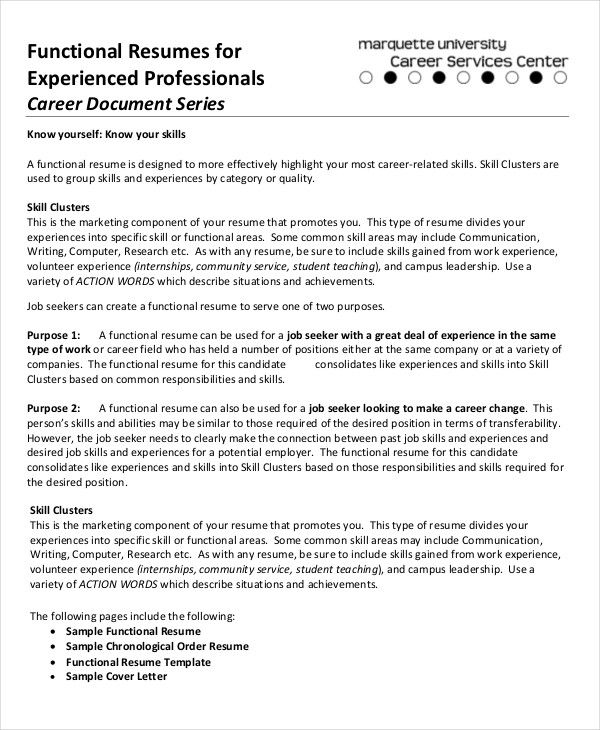 functional-resumes-for-experienced-professional Resume Templates