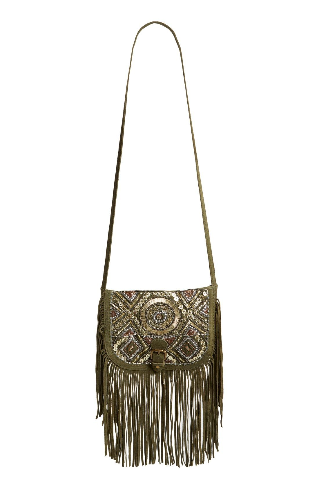 9ff280cadf4 Stunning beadwork and shimmery sequins highlight this boho-chic crossbody  bag. Also, love the long fringe that flows and calls attention to the  sparkly gold ...