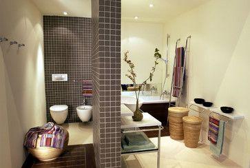 Contemporary  open space bathroom with Winckelmans wall tile contemporain-carrelage