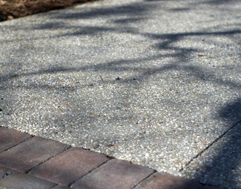 sandblasted exposed aggregate concrete patio paver google search - Concrete Driveway Design Ideas