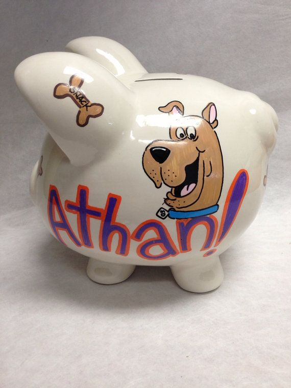 personalized piggy bank scooby doo on etsy 36 00 scooby doo