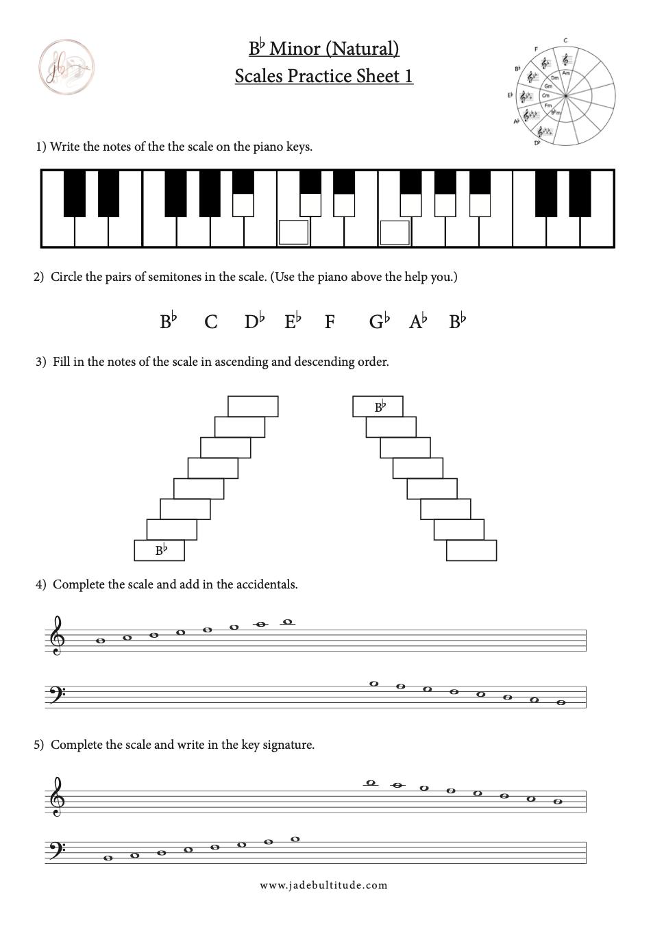 Bb Minor Natural Free Music Theory Worksheet Music Resource Music Theory Worksheets Printable Music Theory Worksheets Free Music Theory Worksheets [ 1356 x 950 Pixel ]