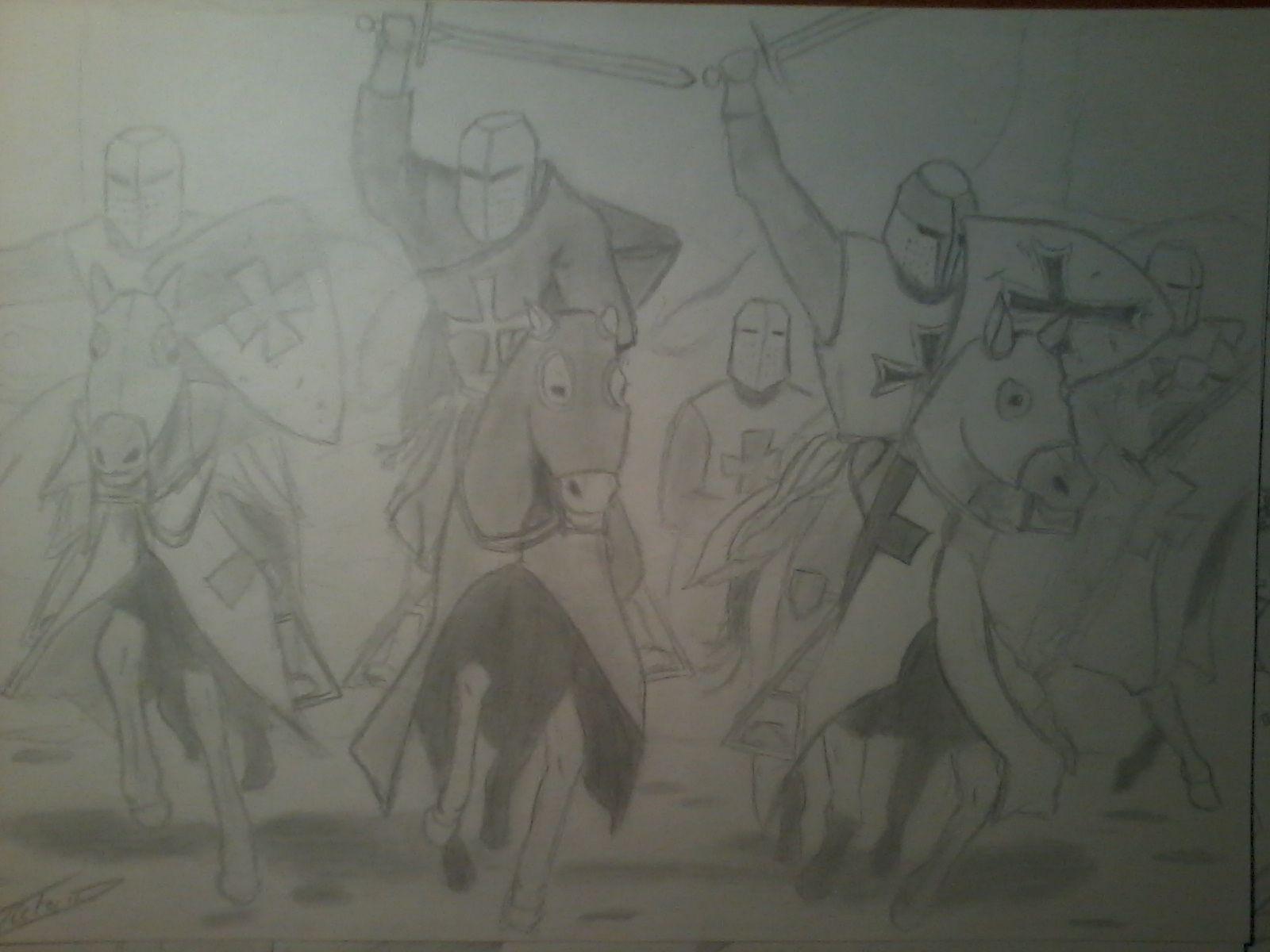Cruzados. Formato din A4, hecho con lápiz stadler número 1 y difuminador número 3. En el dibujo aparece un caballero de la orden Templaria (izda.), otro de la orden de San Juan (centro), y otro de la orden de los Teutones (derecha).