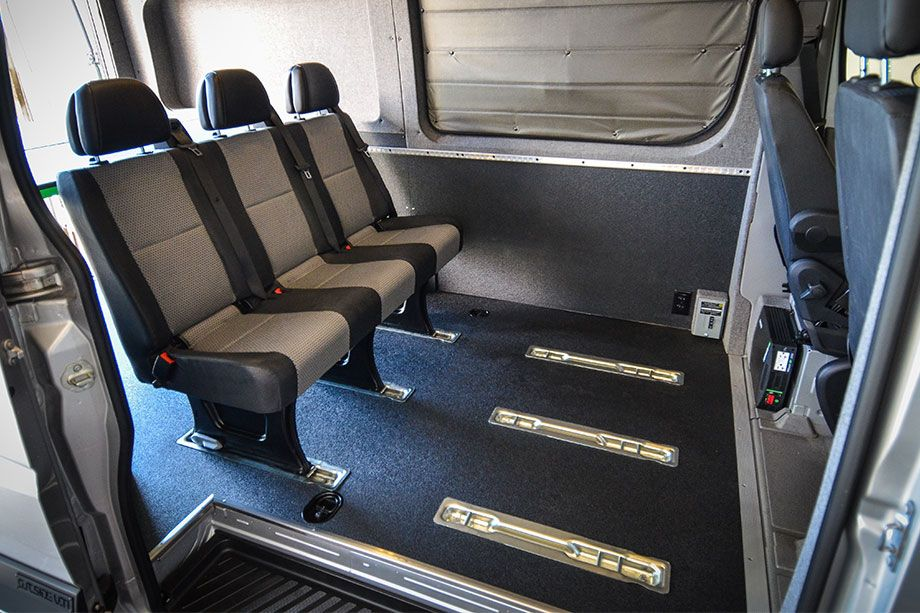 Custom Mounted Bench Seat Brackets - Outside Van | MotoVan