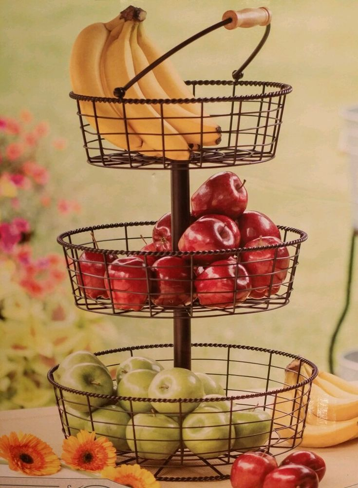 3 Tier Wire Wrought Iron Basket Fruit Vegetable Counter Holder
