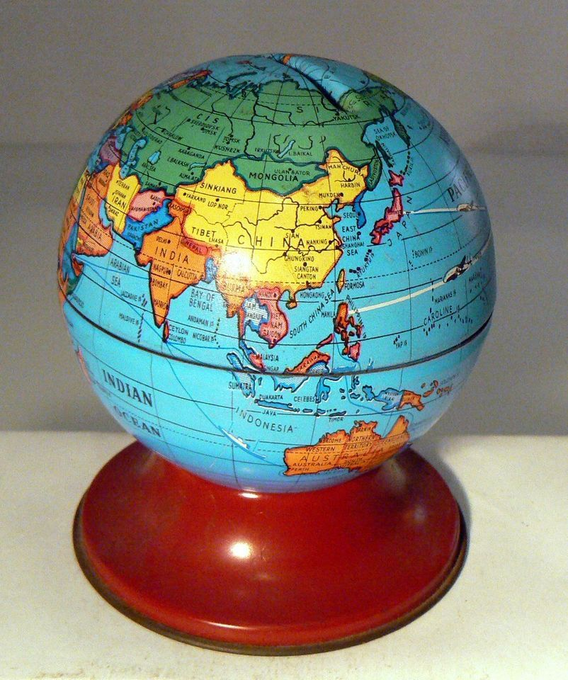 Globes For Sale >> On Sale West German 2 1 2 Tin Bank Globe From Kum Absolutely