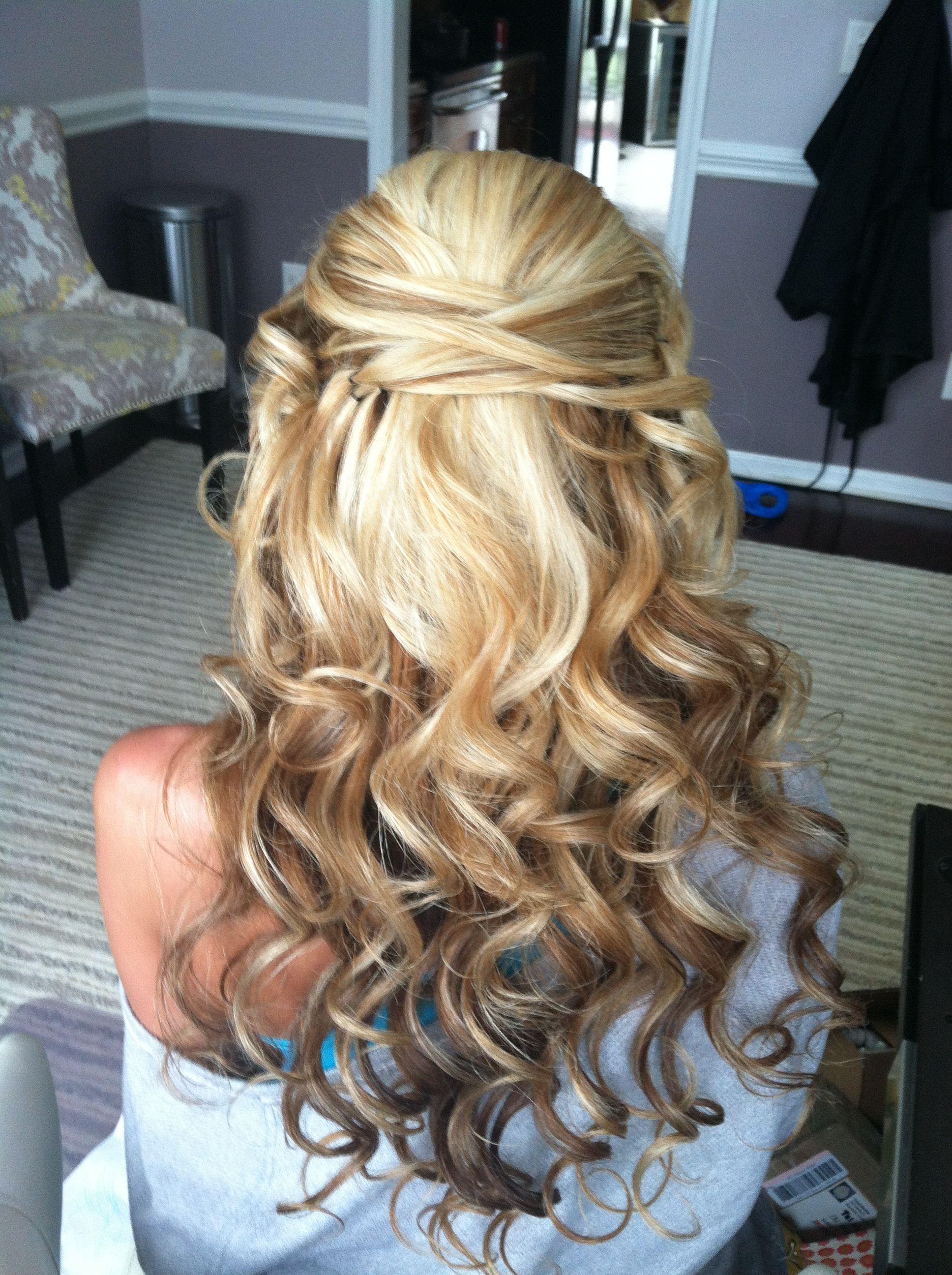 love half up half down curls. and i love the cris cross hair