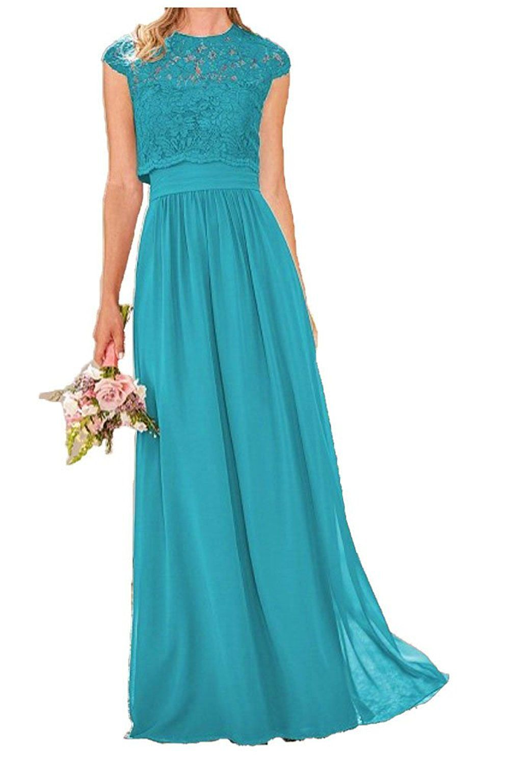 Fanmu sweetheart chiffon long prom bridesmaid dresses with lace top