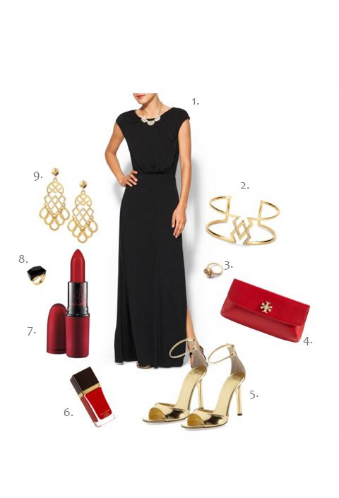 Black, red & gold outfit