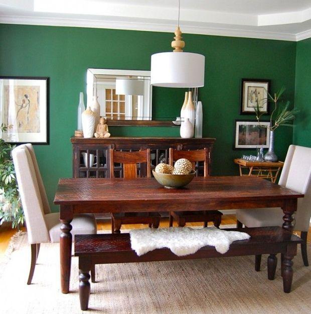 Trend We Love 10 Emerald Interior Ideas Domino Green Dining Room Green Dining Room Walls Dining Room Colors