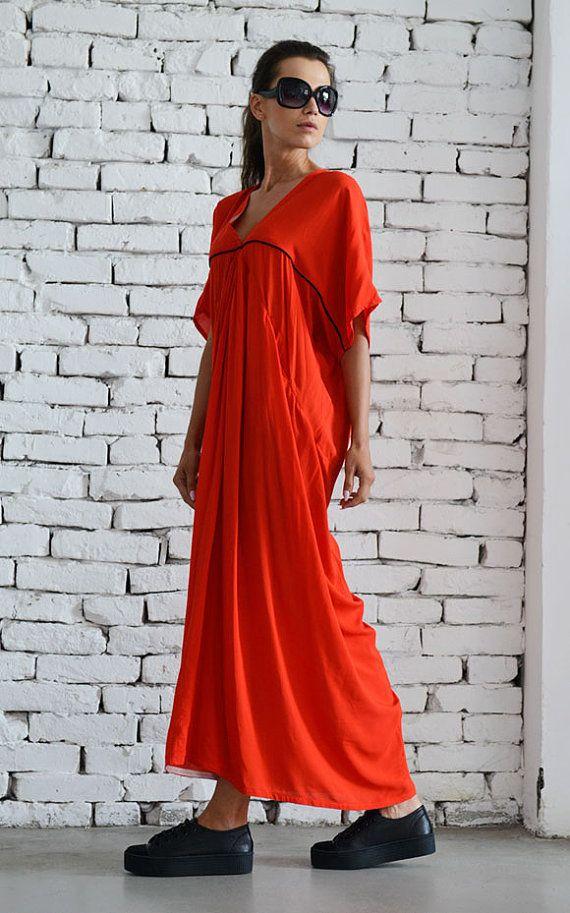 Extravagnt long dress / Long Red Dress / Party dress / Maxi Dress ...