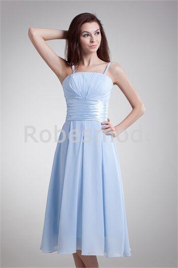 D´honneur Robe Avec Céleste Longue Demoiselle Bleu Bretelles Thé nyvN80mOw