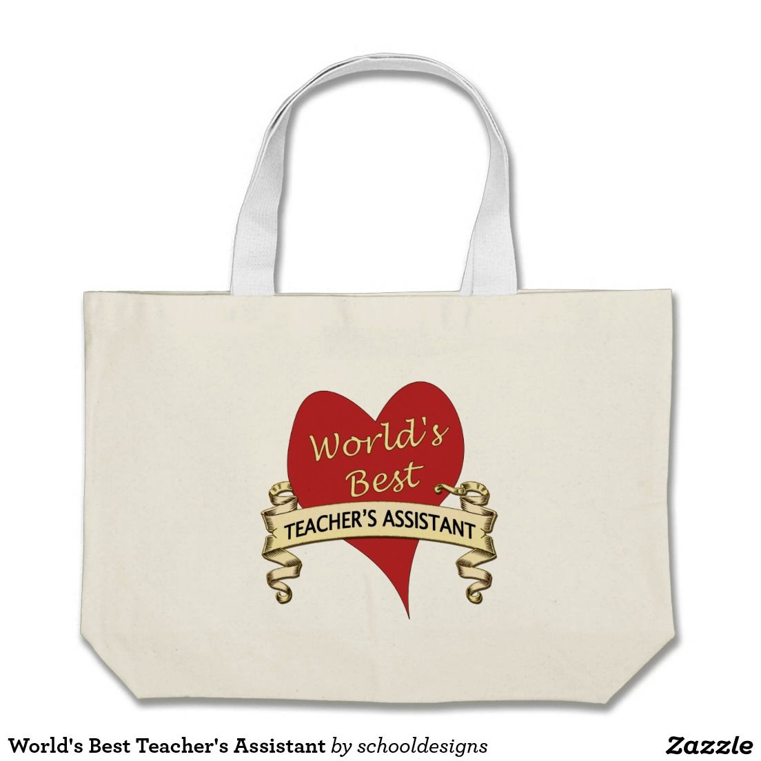 c84a55ef82a4 World's Best Teacher's Assistant Large Tote Bag | Zazzle.com ...