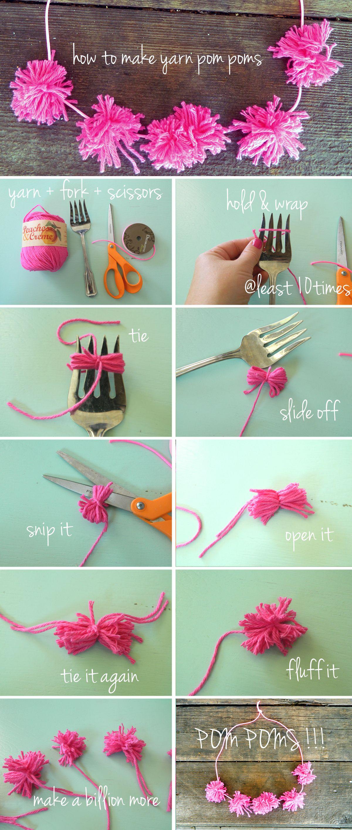 Diy Pom Poms Party Diy Craft Crafts Craft Ideas Instructions Easy