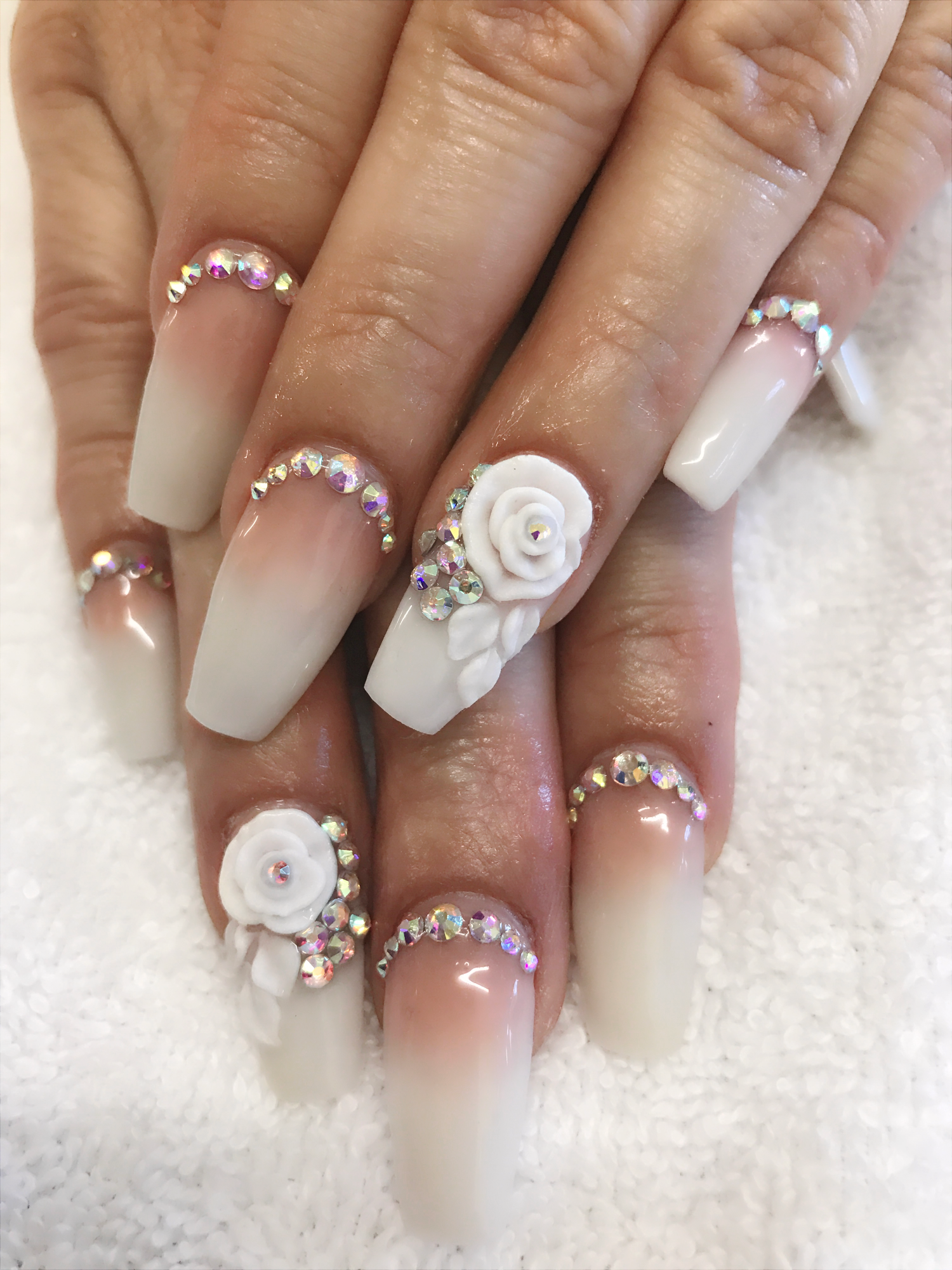 Wedding nails . 3D rose . Diamond , white & nude hombre nails ...