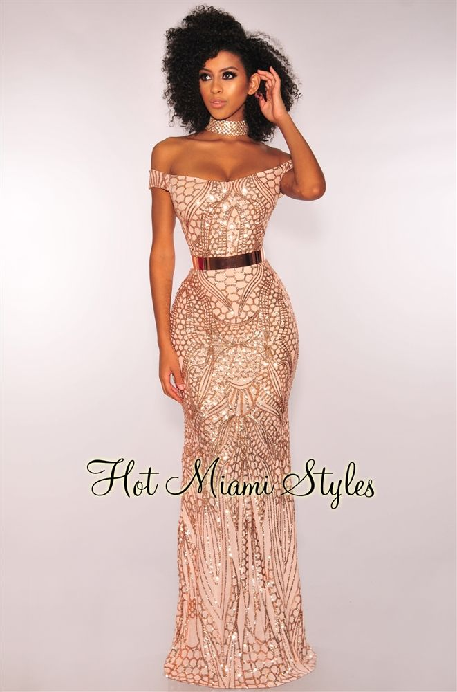 Rose Gold Sequins Sweetheart Off Shoulder Mermaid Maxi Dress in 2019 ... 8545bf315