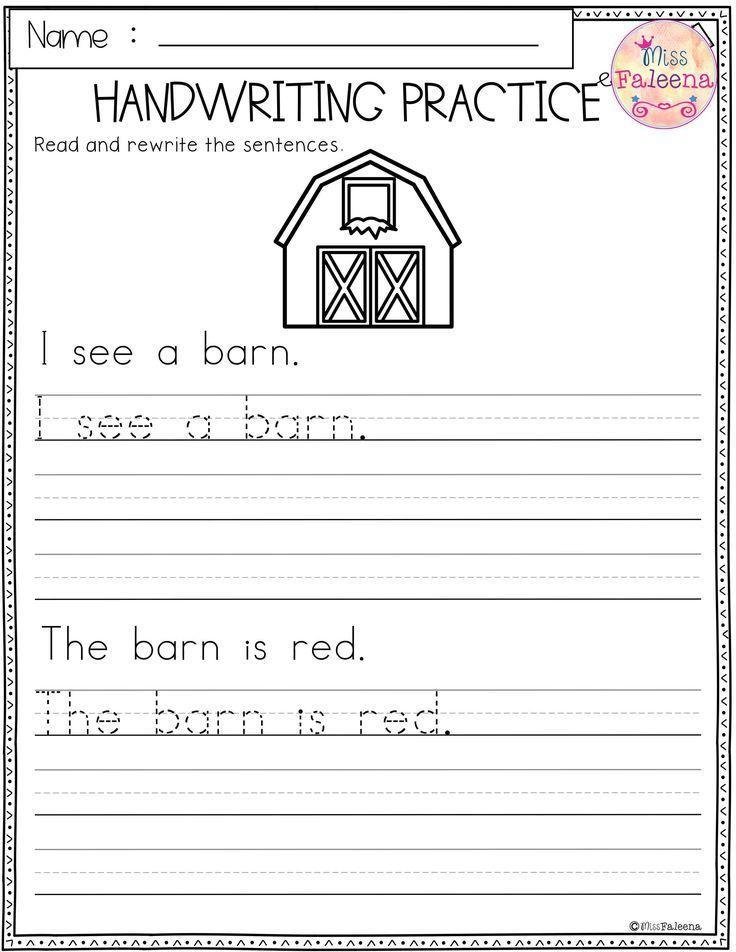 Free Handwriting Practice Handwriting Worksheets For Kindergarten Writing Sentences Worksheets Writing Sentences Kindergarten Free kindergarten penmanship worksheets