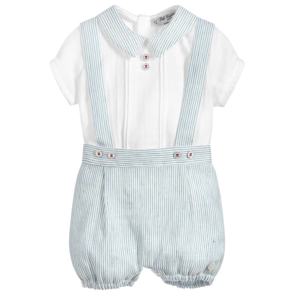 a2601b842 Baby boys blue and white striped shorts set from Pili Carrera. The ...