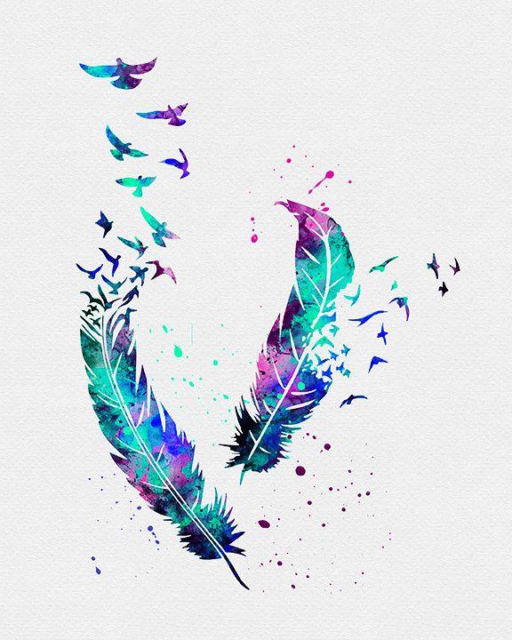 Birds Feathers Watercolor Art Print Tattoos Feder Aquarell