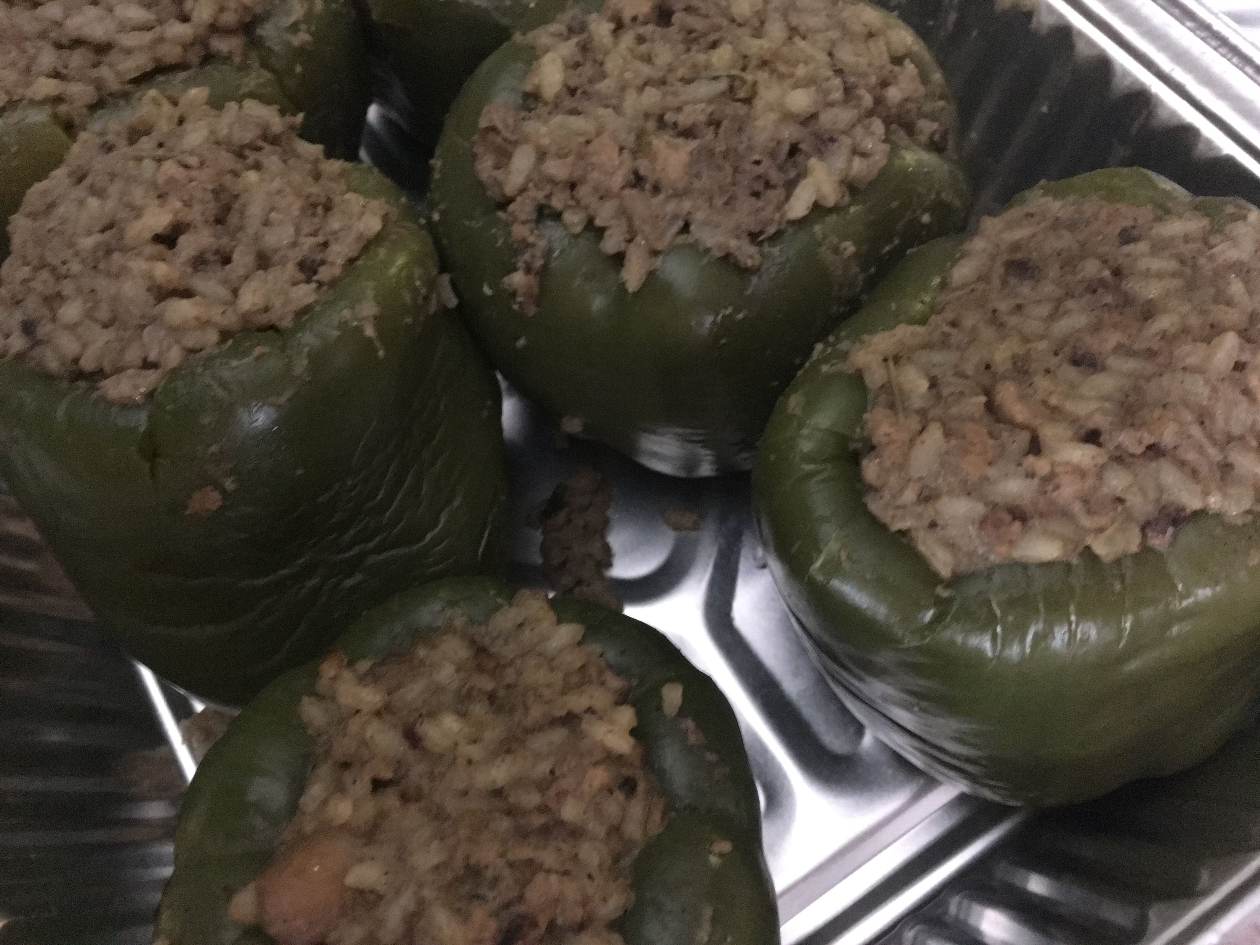 Stuffed Bell Peppers Before Placing The Topping Of Breadcrumbs As Well As A Bit Of Butter And Parmesan Chee Creole Cooking Stuffed Peppers Stuffed Bell Peppers