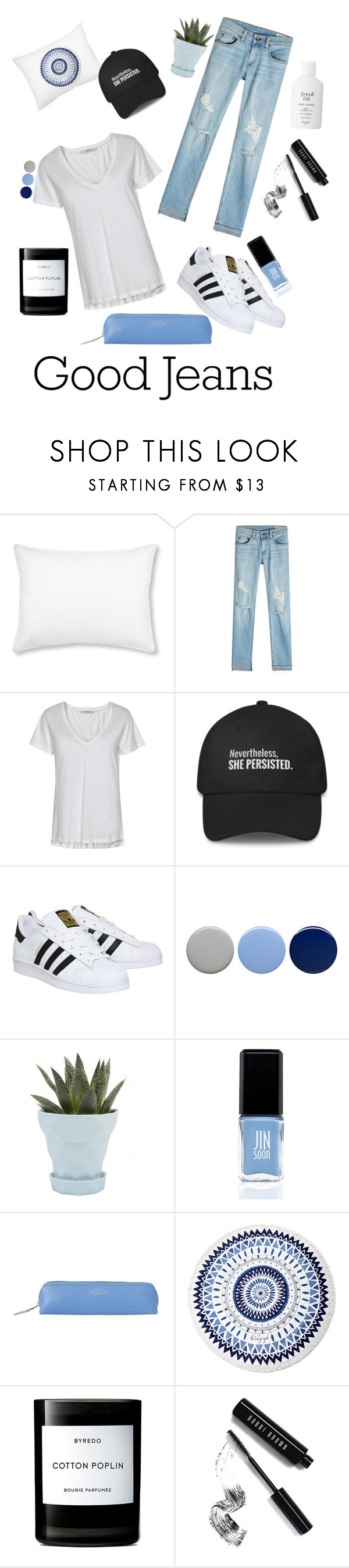 """""""Good Jeans"""" by randomgirl03 ❤ liked on Polyvore featuring L.L.Bean, rag & bone, Gestuz, adidas, Burberry, Chive, JINsoon, Smythson, The Beach People and Byredo"""