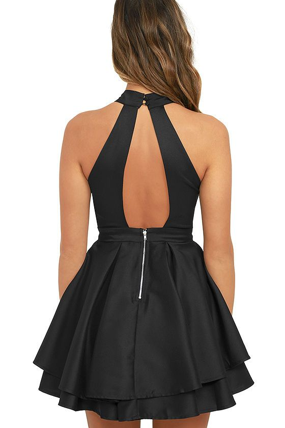 3dbf17ee274e When the spotlight falls on you, you'll be grateful to be donning a number  as cute as the Dress Rehearsal Black Skater Dress! Medium-weight woven  fabric ...